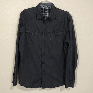Billabong Men's Black Denim Button Down Shirt